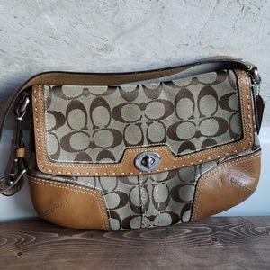 Handbags - brown signature coach handbag